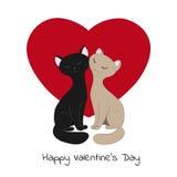La tarjeta de la tarjeta del día de San Valentín con los gatos Fotografía de archivo