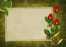 La tarjeta de la vendimia para el día de fiesta con rojo se levantó Fotografía de archivo libre de regalías