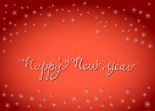 La tarjeta de letras de la Feliz Año Nuevo con nieve forma escamas Imágenes de archivo libres de regalías