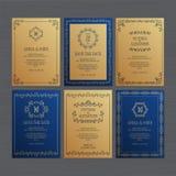 La tarjeta de lujo de la invitación o de felicitación de la boda fijó con el ornam floral stock de ilustración