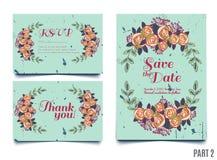 La tarjeta de moda con las rosas para las bodas, ahorra la invitación de la fecha, RSVP y le agradece las tarjetas ilustración del vector
