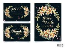 La tarjeta de moda con las rosas para las bodas, ahorra la invitación de la fecha, RSVP y le agradece las tarjetas stock de ilustración