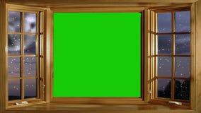 La tarjeta de Navidad animó el fondo, mirando hacia fuera Windows en noche nevosa stock de ilustración