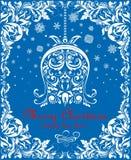 La tarjeta de Navidad azul de saludo del vintage con la campana de papel floral de la ejecución, cortó los copos de nieve y la fr Imágenes de archivo libres de regalías