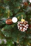 La tarjeta de Navidad con el árbol de abeto juega bolas y conos del pino Fotos de archivo libres de regalías