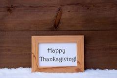 La tarjeta de Navidad con el marco, manda un SMS a la acción de gracias feliz, nieve Imágenes de archivo libres de regalías