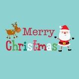 La tarjeta de Navidad con santa lindo y el reno diseñan Fotografía de archivo