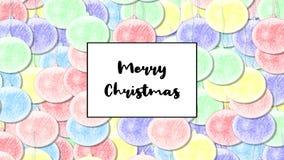 La tarjeta de Navidad de la Feliz Navidad con la chuchería en colores pastel del arco iris como fondo, enfoca adentro almacen de video