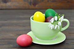 La tarjeta de pascua con los huevos de Pascua en la taza y la primavera florece en cáscara de huevo Fotos de archivo