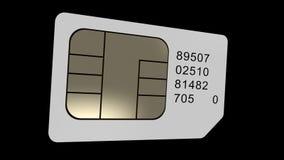 La tarjeta de Sim gira bucle Chanel alfa representación 3d almacen de video