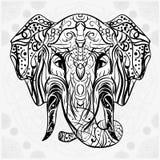 La tarjeta decorativa blanco y negro con el elefante va al fondo Imagenes de archivo