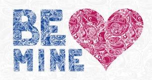 La tarjeta decorativa de la impresión o de felicitación sea la mía con el corazón rojo y el Orn libre illustration