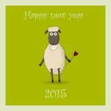 La tarjeta 2015 del Año Nuevo con el espolón Foto de archivo libre de regalías