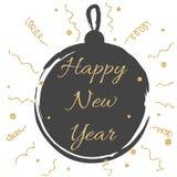 La tarjeta del Año Nuevo con la bola negra y el oro brillan Foto de archivo