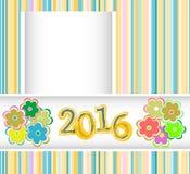 La tarjeta del Año Nuevo 2016 con las flores fijó, tarjeta de la invitación del día de fiesta de la Navidad Fotografía de archivo