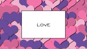 La tarjeta del amor del AMOR con los corazones rosados como fondo, enfoca adentro almacen de metraje de vídeo