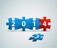 La tarjeta del Año Nuevo 2014 hecha de rompecabezas junta las piezas Imagen de archivo libre de regalías