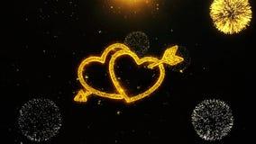 La tarjeta del corazón del amor del día de tarjeta del día de San Valentín, invitación, fuego artificial de la celebración colocó stock de ilustración