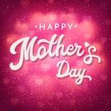 La tarjeta del día de madres con el bokeh brillante empañó corazones Foto de archivo libre de regalías