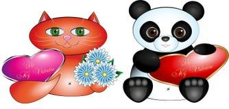 La tarjeta del día de San Valentín carda el gato y la panda Foto de archivo