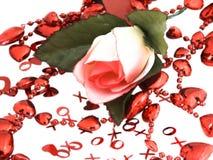 La tarjeta del día de San Valentín se levantó Foto de archivo libre de regalías