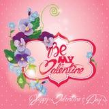 La tarjeta del día de tarjetas del día de San Valentín con el pensamiento y la nomeolvides florece - vinta Fotografía de archivo
