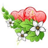 La tarjeta del día de tarjetas del día de San Valentín con los corazones Vector el fondo Imagen de archivo