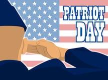 La tarjeta del día del patriota con la bandera de une estados de América y de un soldado militar con saludar del gesto de mano libre illustration