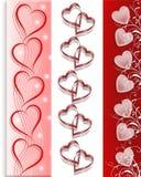 La tarjeta del día de San Valentín confina corazones 3 estilos Imagen de archivo