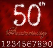 la tarjeta del feliz cumpleaños de 50 años, 50.o aniversario chispea Imagen de archivo libre de regalías