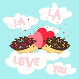 La tarjeta del ` s de la tarjeta del día de San Valentín del St con los erizos en amor se nubla Imagen de archivo libre de regalías