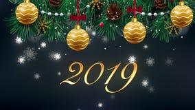 La tarjeta del saludo y de los deseos del texto de la Feliz Año Nuevo 2019 hecha de partículas y de bengalas del brillo enciende  almacen de metraje de vídeo