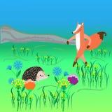 La tarjeta del tema con el zorro y el erizo en un prado de la flor, vector enfermedad Imagenes de archivo