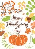 La tarjeta dibujada mano feliz del día de Tanksgiving adornó la calabaza, deja el roble de la ceniza de montaña Foto de archivo