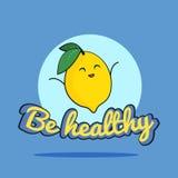 La tarjeta divertida sea sana con el carácter feliz del limón, ejemplo de la historieta Fotografía de archivo libre de regalías