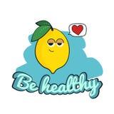 La tarjeta divertida sea sana con el carácter fresco del limón, ejemplo de la historieta Imagen de archivo libre de regalías