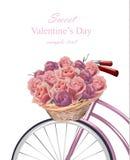 La tarjeta dulce del día de San Valentín con las rosas florece el vector realista Foto de archivo libre de regalías