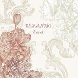 La tarjeta elegante de la invitación en estilo retro con la amapola florece Foto de archivo