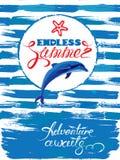 La tarjeta estacional con el marco y el delfín en grunge de la pintura rayan el azul Fotografía de archivo