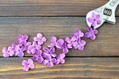 La tarjeta feliz del día de padres con la llave y la lila florece imagen de archivo libre de regalías