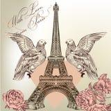 La tarjeta hermosa de la tarjeta del día de San Valentín con la torre Eiffel detallada del vector, subió Imágenes de archivo libres de regalías