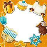 La tarjeta judía de la celebración de Jánuca con la etiqueta engomada del día de fiesta se opone stock de ilustración