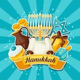 La tarjeta judía de la celebración de Jánuca con la etiqueta engomada del día de fiesta se opone ilustración del vector