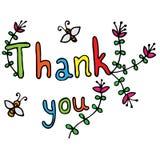 La tarjeta le agradece con la flor y la abeja Fotos de archivo libres de regalías