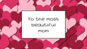 A la tarjeta más hermosa del amor de la mamá con los corazones rosados como fondo, enfoque adentro almacen de video