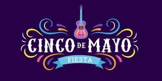 La tarjeta mexicana Cinco de Mayo 5 del d?a de fiesta puede Elementos mexicanos decorativos y tradicionales guitarra, sombrero S? libre illustration