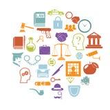 La tarjeta redonda con la justicia legal Icons de la ley plana retra y los símbolos aislaron el ejemplo determinado del vector Imágenes de archivo libres de regalías