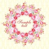 La tarjeta redonda floral del vector con subió Fotos de archivo libres de regalías