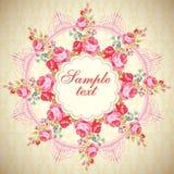 La tarjeta redonda floral del vector con subió Fotos de archivo
