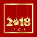 La tarjeta roja china feliz del Año Nuevo con la ejecución del oro numera libre illustration